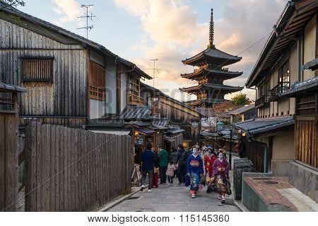 Yasaka Pagoda With Kyoto Ancient Street In Japan