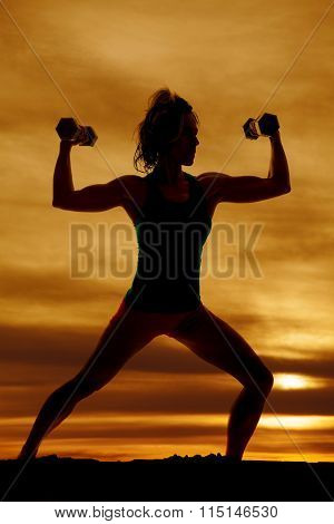 Silhouette Of Woman Slight Lunge Flex With Weights