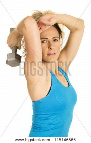 Woman Blue Fitness Tricep Extension Side Looking
