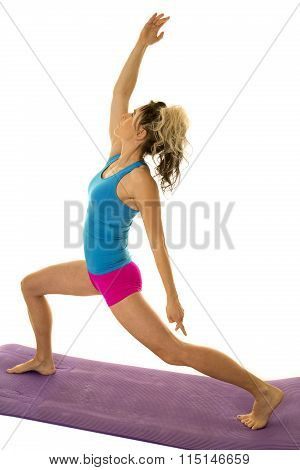 Woman Blue Tank And Pink Shorts Fitness Lunge Arm Up