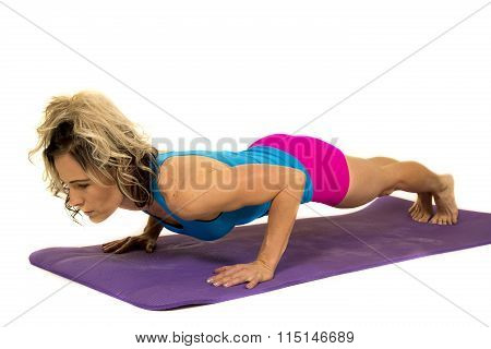 Woman Blue Tank And Pink Shorts Fitness Push Up