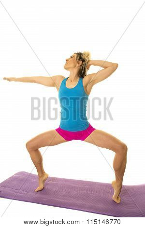 Woman Blue Tank And Pink Shorts Fitness Squat On Toes Look Side