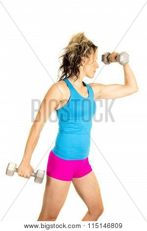 Woman Blue Tank And Pink Shorts Fitness Weights Flex One Side