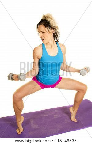 Woman Blue Tank And Pink Shorts Fitness Toe Squat
