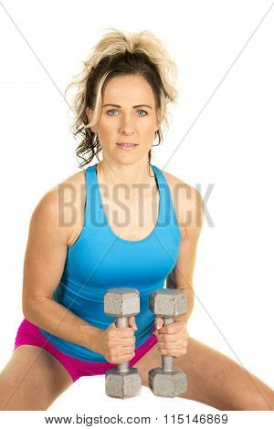 Woman Blue Tank And Pink Shorts Fitness Weights Out Small Smile