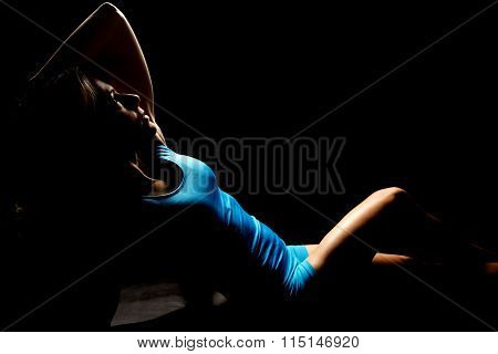 Woman In Blue Outfit Lean Back Hand Over Head Highlighted