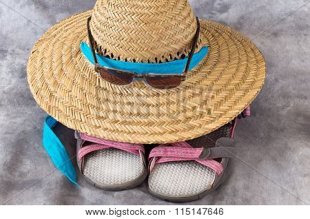 Straw Sun Hat Sunglasses And Sandals