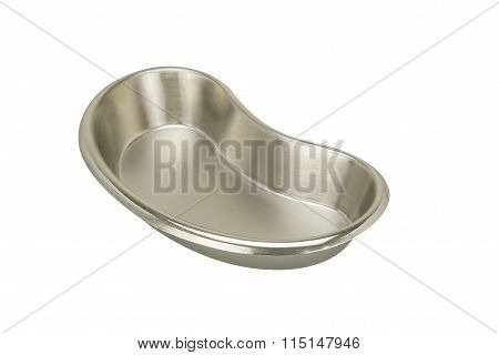Stainless Steel Kidney-shaped Bowl Isolated On White Background