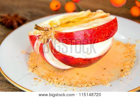 Apple Stuffed with Cream Cheese Dietary Food. Brunch