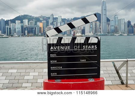 HONG KONG - MAY 06, 2015: The Avenue of Stars on a cloudy day. Avenue of Stars honours celebrities of the Hong Kong film industry.