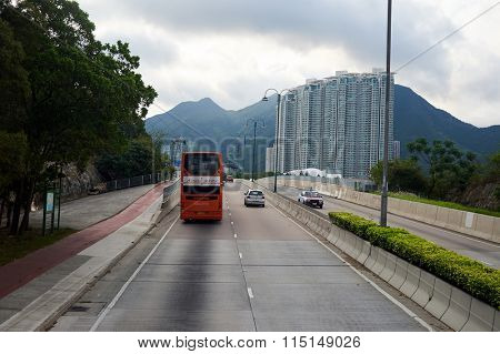 HONG KONG - MAY 06, 2015: view from upper deck of double-decker bus. Hong Kong is an autonomous territory on the southern coast of China at the Pearl River Estuary and the South China Sea
