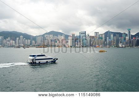 HONG KONG - MAY 06, 2015: daytime view of Hong Kong Island. Hong Kong, is an autonomous territory on the southern coast of China at the Pearl River Estuary and the South China Sea