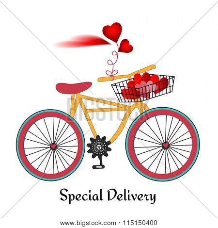 Retro bicycle with basket  and heart cloud  (remove hearts in basket and add your input)
