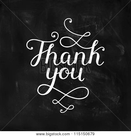 Thank you card with handdrawn lettering