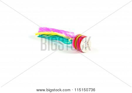 Colorful Feather Shuttle Cock Kick Isolated On White Background