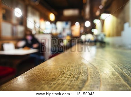 Table Top Counter Bar Restaurant Background With Blurred People