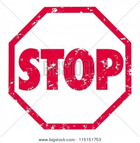 Stop word in octagon shaped red grunge style stamp to illustrate need to pause, hold or finalize an action or process