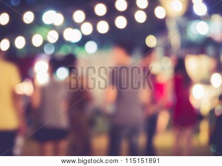 Festival Event Party With People Blurred Background