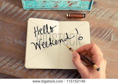 Handwritten Text Hello Weekend