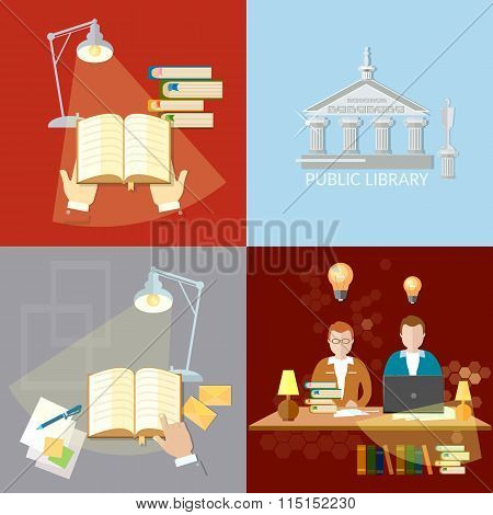 Library Set Students Reading Room Education Concept