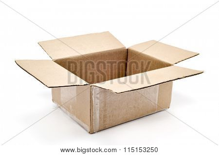 an open used brown cardboard box on a white background