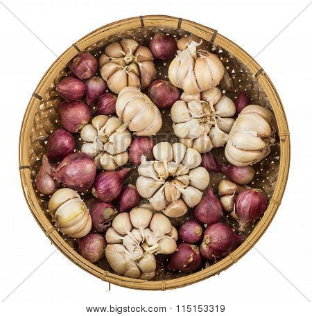 Top View Of Garlic Shallot Isolated On White