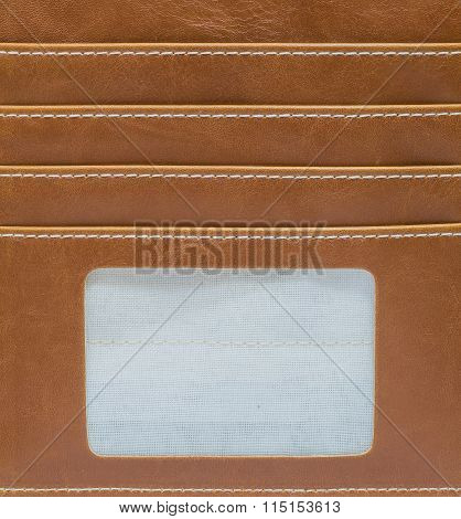 Closeup Inside Of Wallet Made From Artificial Leather Background