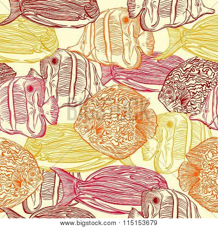 Seamless pattern with collection of tropical fish.Vintage set of hand drawn marine fauna.Vector illu