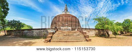 Rankoth Vehera in the world heritage city Polonnaruwa, Sri Lanka. Panorama