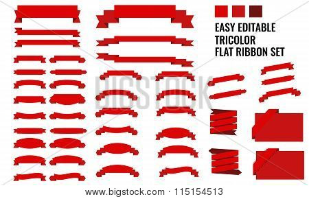 Vector set of tricolor, flat, long and short ribbon banners