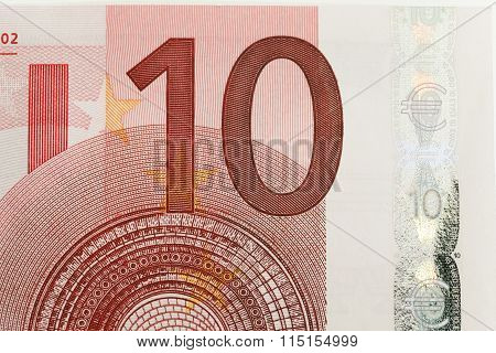 ten euros .  close up.