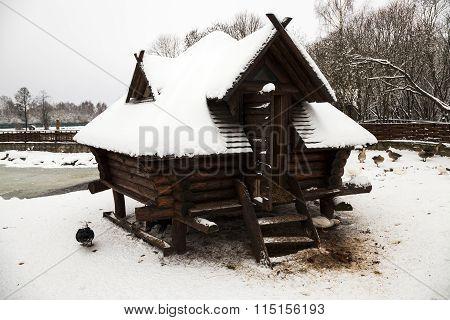 wooden building . winter season