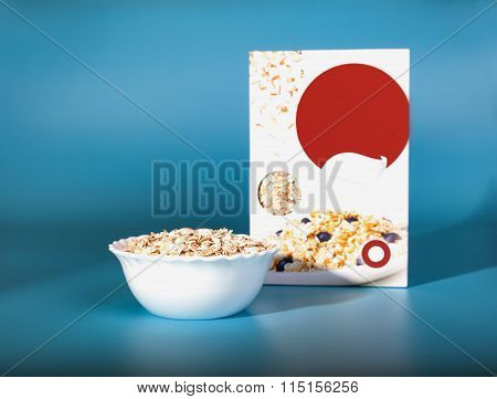 Cup of cereals. Healthy breakfast in the box