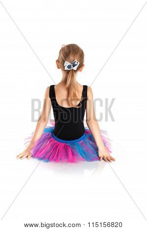 Little Ballerina in tutu on a white studio
