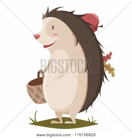 Hedgehog with basket, apple and leaves. Cartoon vector illustration