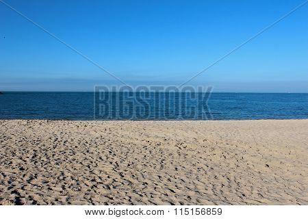 Blue Sky And Sand At The Arabian Gulf Seashore