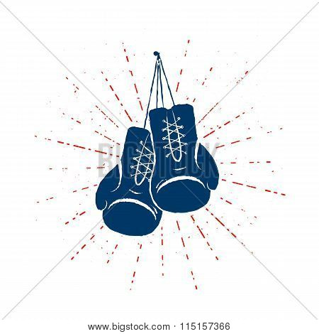 Vintage Boxing Gloves Hanging Nailed to Something. Vector illustration.