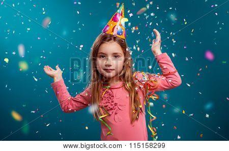 little cute girl having birthday party