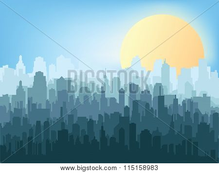 Morning city silhouette.