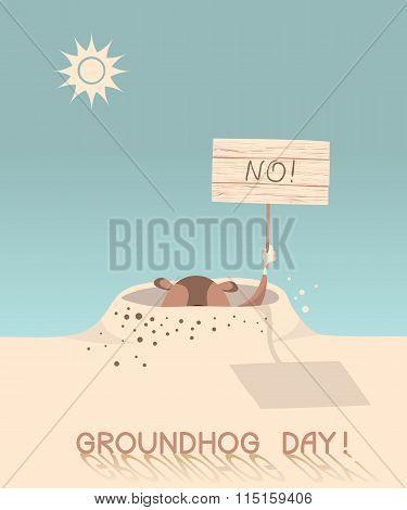 Groundhog Day. Vecto Cartoon Illustration