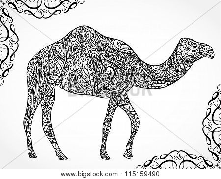 Camel decoration with oriental ornaments. Vintage hand drawn vector illustration
