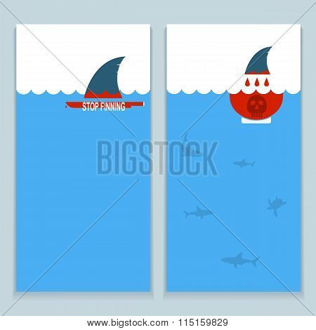 Set Of Banners About Save Sharks And Undersea World.vector Collection