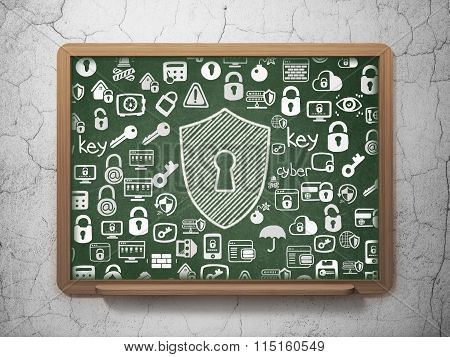 Protection concept: Shield With Keyhole on School Board background