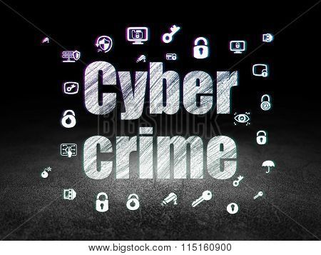 Protection concept: Cyber Crime in grunge dark room