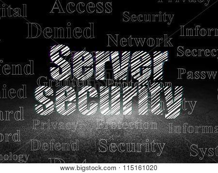 Security concept: Server Security in grunge dark room