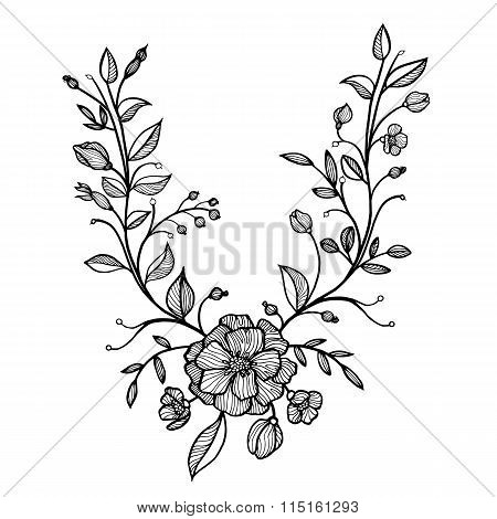hand drawn vector floral frame
