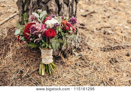 Rustic Wedding Bouquet With Red Rose With Cope Space