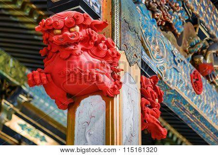 Detail on a post at Taiyuinbyo - the Mausoleum of Shogun Tokugawa Iemitsu in Nikko, Japan