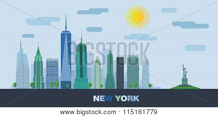 The landscape of skyscrapers of New York City