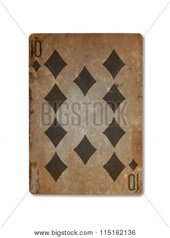 Very Old Playing Card, Ten Of Diamonds